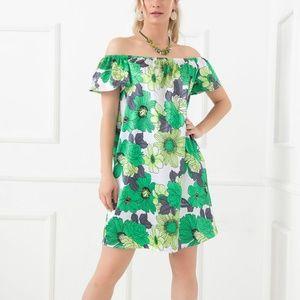 Green floral off the shoulder silky shift dress RP